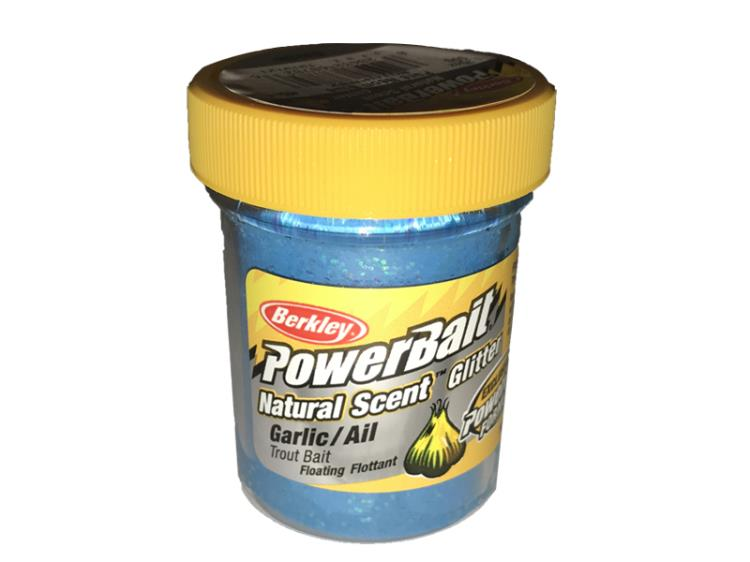 PowerBait Natural Scent Glitter Garlic/Ail Pure Neon Blue
